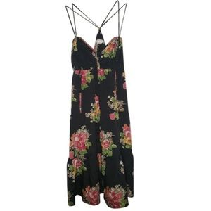 AMERICAN EAGLE Slip Dress Satin Tiered Floral Boho